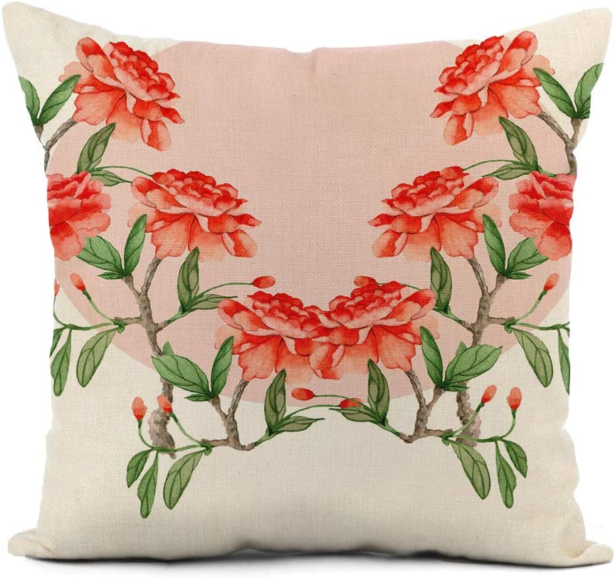 rouihot Linen Throw Pillow Cover Pink Asia Watercolor Peonies Colorful Flowers Wedding Chinoiserie Asian Home Decor Pillowcase 20x20 Inch Cushion Cover for Sofa Couch Bed and Car