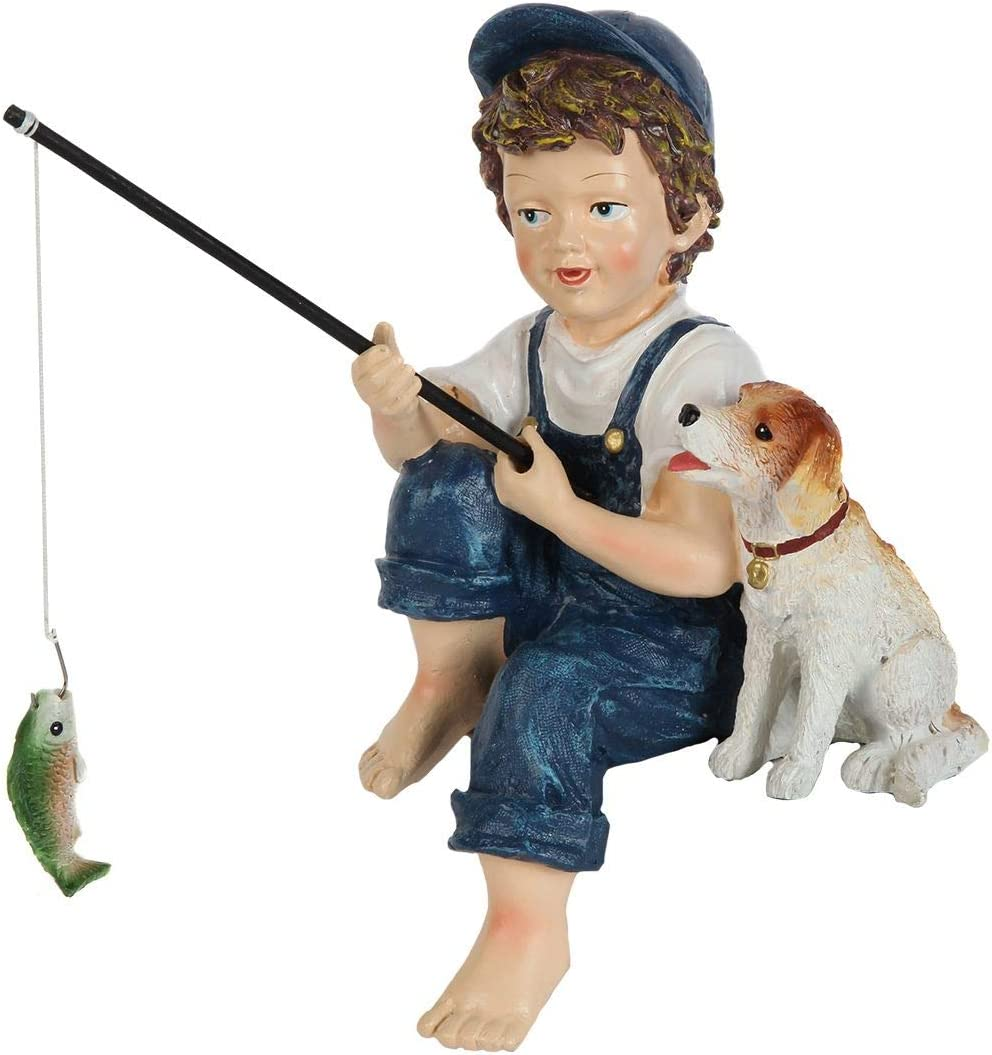 Lily's Home Fishing Little Boy with Dog. Mini Outdoor Yard Figurine 11 Inch
