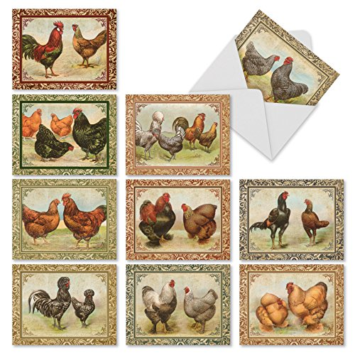 10 Rooster-Themed Thank You Note Cards w/ Envelopes 4x5.12 inch - 'Card-A-Doodle-Do' Boxed Stationery Set for Weddings, Thanksgiving, Parties M2351TYG ()