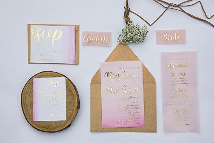 Amazon Vellum Wedding Invitations Suite Clear