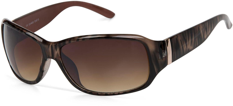 styleBREAKER Sonnenbrille mit Strass und breitem Bügel mit Kreis Optik, Damen 09020058, Farbe:Gestell Braun Demi / Glas Braun Verlaufsglas