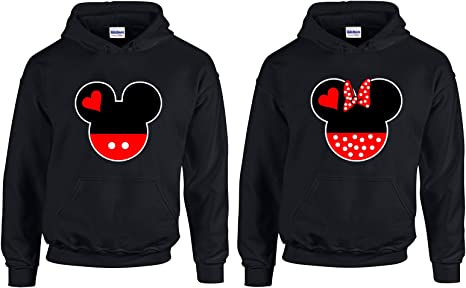 Black-White,Men-XXL//Women-S CAMALEN Minnie /& Mickey Head Love Most Popular Hoodie Hooded Sweatshirt 1