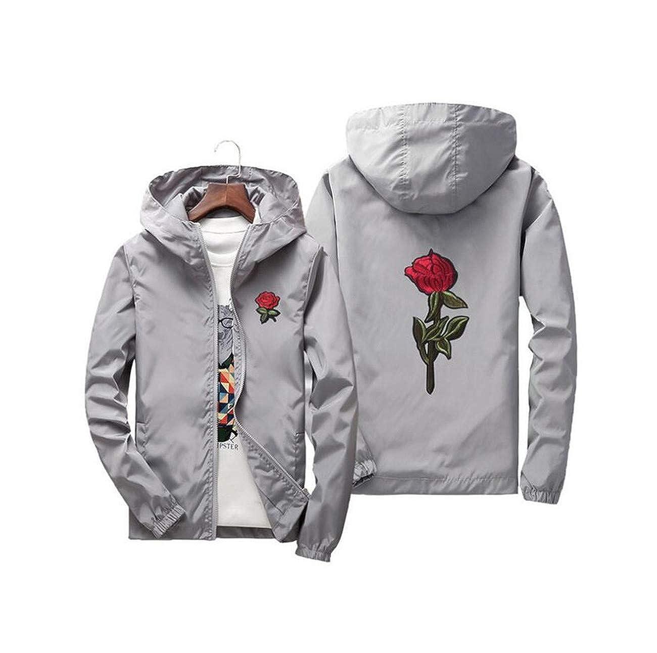 Fancy Dawn Embroidery Rose Flower Windbreaker Jacket Men Hooded Bomber Jacket Skin Mens Jackets