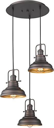 Zeyu 3-Light Pendant Light, Industrial Farmhouse Hanging Light for Kitchen Dining Room, Oil Rubbed Bronze Finish with Metal Shade, 016-3 ORB