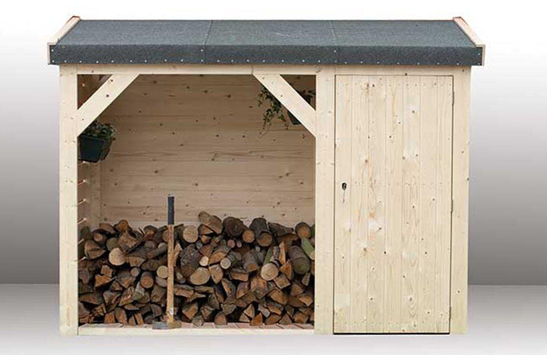 Cobertizo León de madera Picea macizas | cabaña Jardín con techo cartón | Caseta pequeño Natural Sin farbbeha ndlung (270 x 120 cm): Amazon.es: Jardín