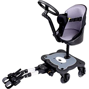 Mee Go Sit N Ride 4 Wheeled Universal Buggy Ride On Board With Seat Steering Wheel To Fit All Pushchairs Prams And Strollers Endorsed By The