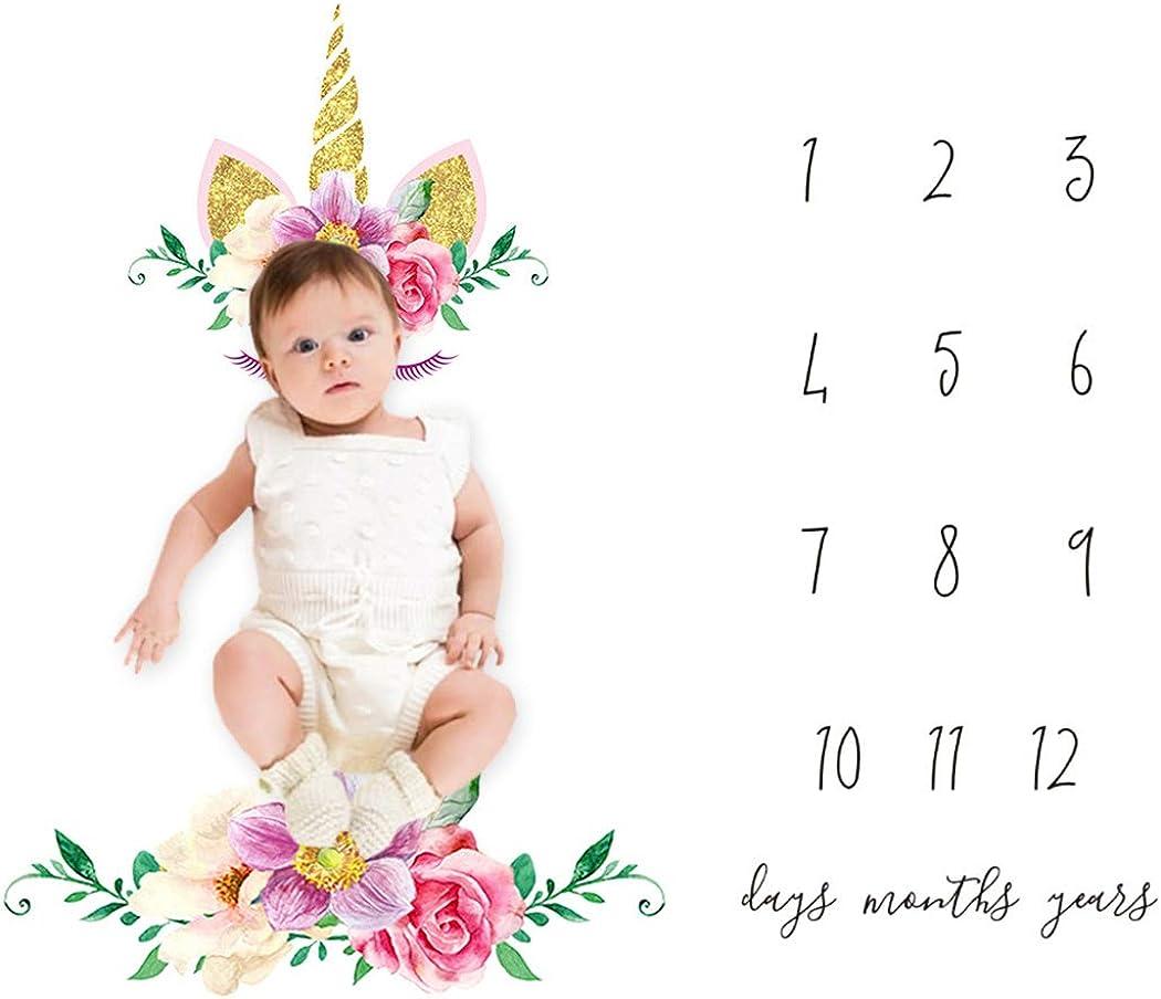 Couverture mensuelle pour b/éb/é Milestone Fashion Print Baby Photography Prop Photo Blanket