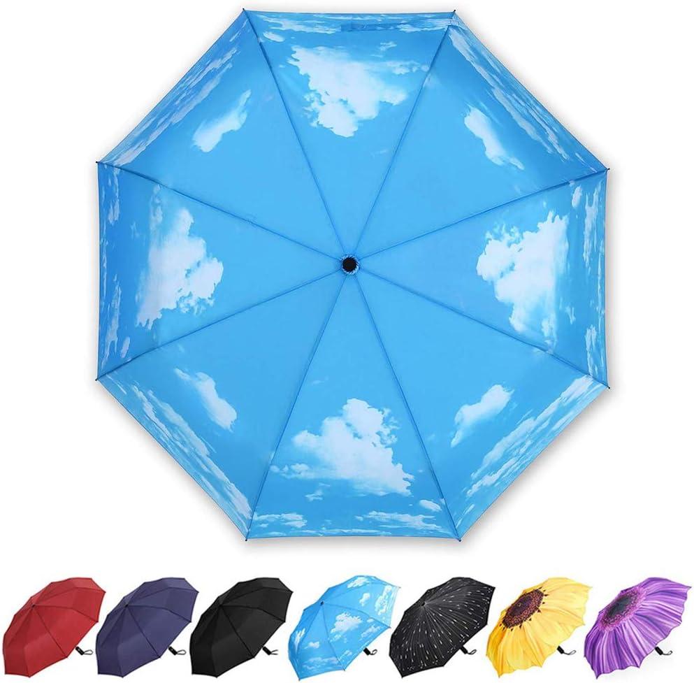 Parapluie Pliant Parapluie Compact Incassable 12 Baleines pour Homme Femme Voyage avec Sac dabsorption Parapluie Coupe-Vent /& Ultra-l/éger Ouverture et Fermeture Automatique