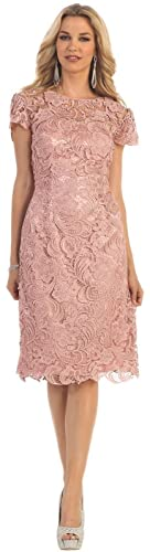 May Queen MQ1106 knee Length Mother Of The Bride Dress