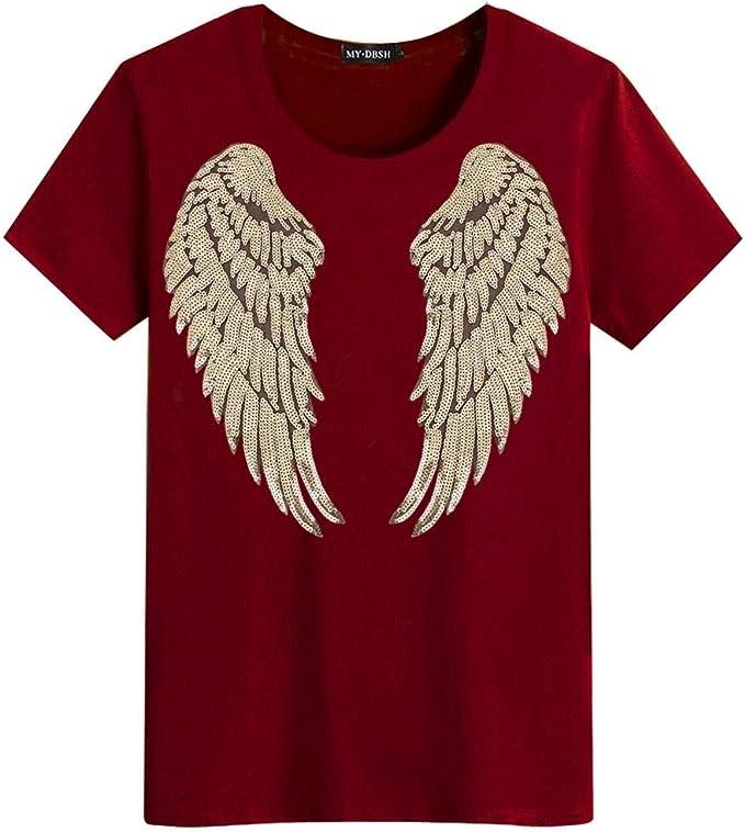 YSFU Camiseta Verano Hombre Lentejuelas Camiseta Hombre Algodón Lentejuelas Dorado Alas De Ángel Tops Camisetas, XXXXL: Amazon.es: Deportes y aire libre