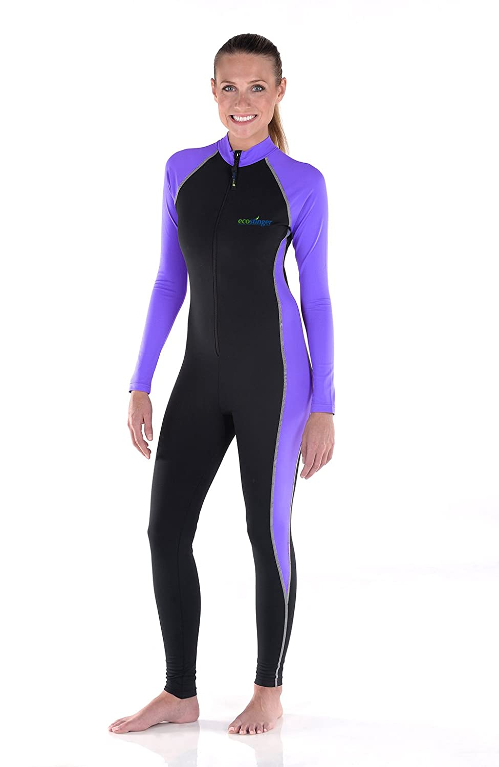 Women Full Body Swimsuit Sun Guard Stinger Suit Dive Skin UPF50+ Black Lavender A102-LAV