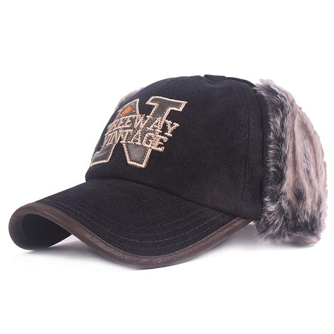 208cc789a69 King Star Winter Wool Baseball Cap Earflap Fitted Hats Men Soft Rabbit Fur  Hat Black