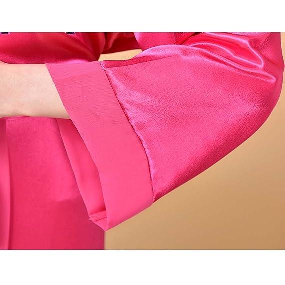 Long Sleeves Gauze Pajamas Tracksuit Loose Nightgown Bathrobe SPA Robes -Rose at Amazon Womens Clothing store: