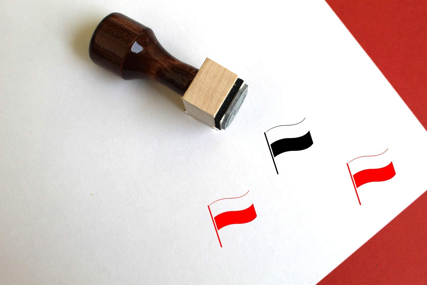 Poland Flag Wooden Rubber Stamp 0.5 x 0.5