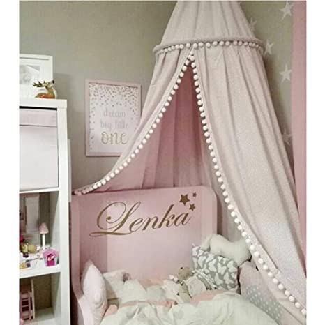 Superieur LOAOL Kids Bed Canopy With Pom Pom Hanging Mosquito Net For Baby Crib Nook  Castle Game