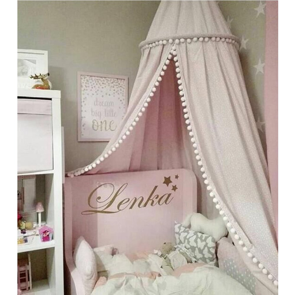 LOAOL Kids Bed Canopy with Pom Pom Hanging Mosquito Net for Baby Crib Nook Castle Game Tent Nursery Play Room Decor (Pink)