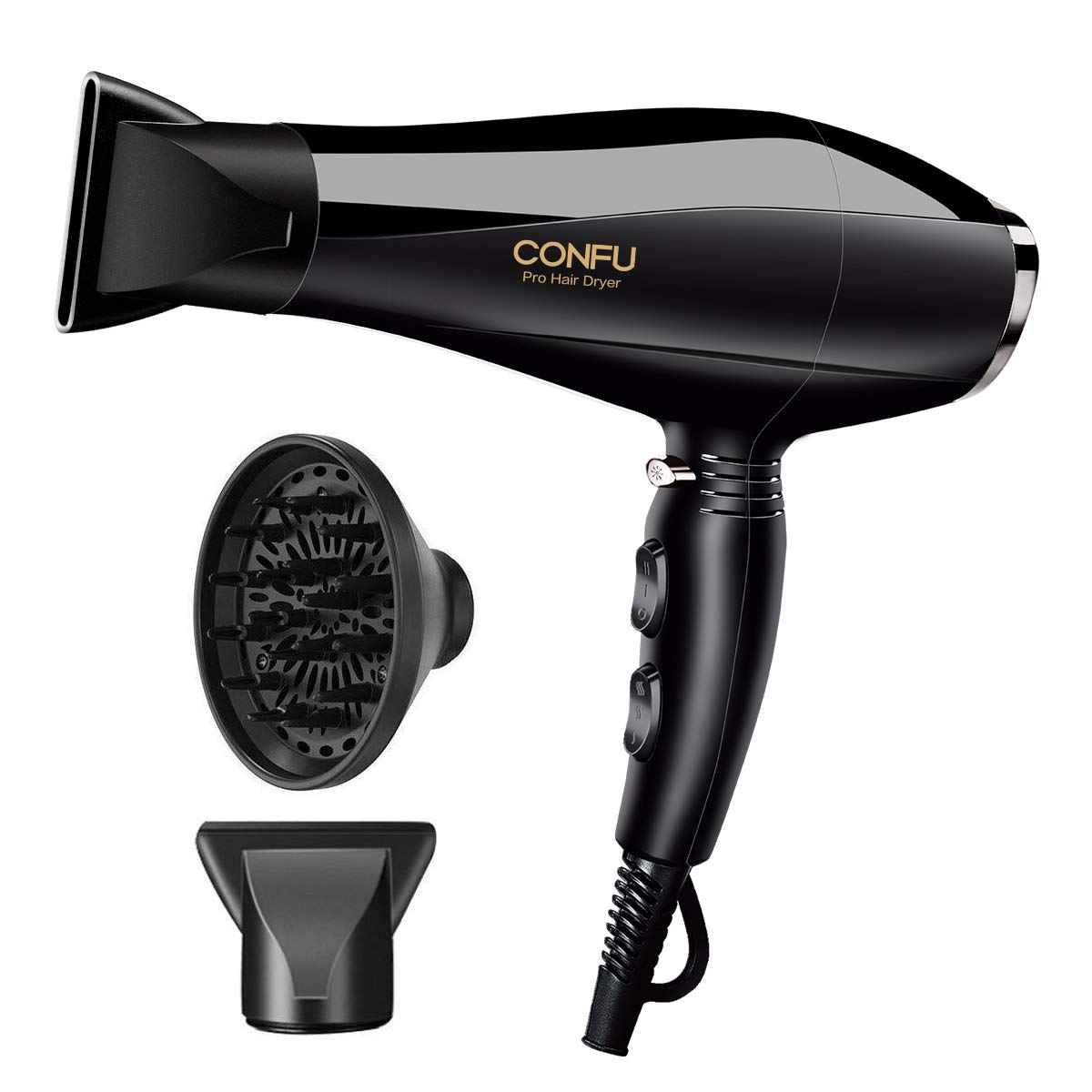1875W Professional Salon CONFU Hair Dryer for Faster Drying, Negative Ion Blow Dryer with 2 Speed and 3 Heat Setting Hairdryer,AC Motor with Diffuser 2 Concentrator for Healthy Hair