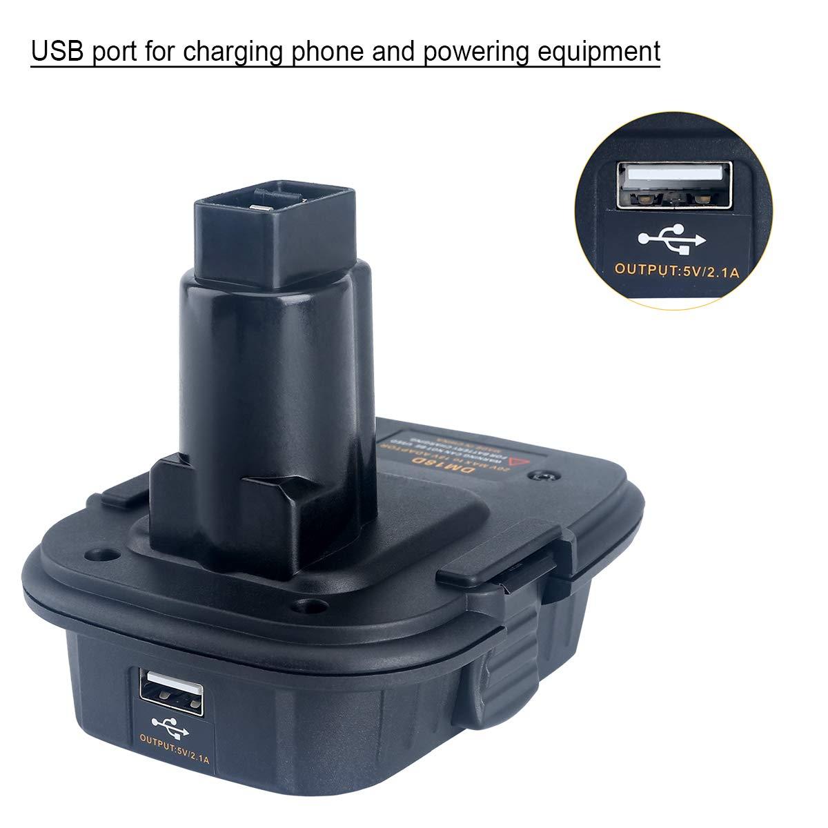 Lasica 20V Battery Adapter DCA1820 with USB port for Dewalt 18V Tools, Convert Milwaukee 18V Lithium Battery M18 DeWalt MAX 20Volt Lithium-Ion Battery DCB204 to DeWalt 18V NiCad NiMh Battery DC9096 by Lasica (Image #3)