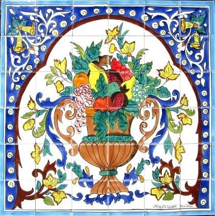 Decorative Ceramic Tiles: Hand Painted Mosaic Mural Kitchen Bath Patio Wall Décor 36 Inch x 36 Inch