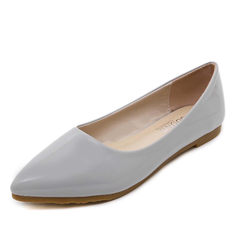 DYF Nude Schuhe Flache Mund scharfe, Flache Unterseite Patent Farbe Metall