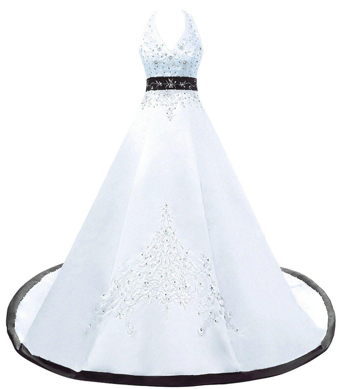 White   Black Vantexi Women's Embroidery Satin Halter Wedding Dress Bridal Gown