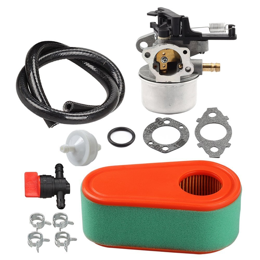 Panari Carburetor + Air Filter Pre Cleaner Fuel Valve for Briggs and Stratton 591137 590948 775EX Lawn Mower Carb 795066 796254