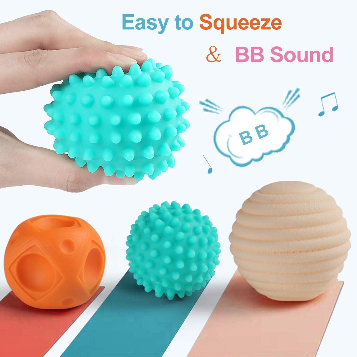 NUOEY Baby Textured Sensory Ball Set Soft Squeeze Massage Balls with Bright Color and Multi Shape,Learning Early Educational Toys for 6 8PCS Months Toddlers Boys and Girls