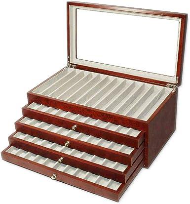 caja de madera con Vitrina caja Estuche para 56 plumas acabado radica: Amazon.es: Relojes