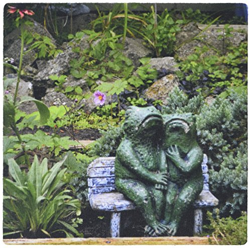 Price comparison product image 3dRose LLC 8 x 8 x 0.25 Inches Mouse Pad,  A Set of Frog Statues Sitting on A Garden Bench (mp_165331_1)