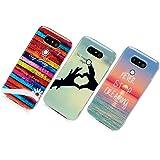 LG G5 Funda Silicona, Cascara Ultrafina Suave, Flexible TPU Transparente con Tecnología de IMD, Anti-Rasguño y Resistente Huellas para LG G5 - Rayas Coloridas,Mano de Amor, El Mar (3 Unidades)