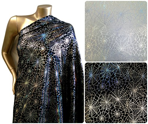 Spiderweb Pattern Shiny Silver Iridescent Foil on Stretch Nylon Spandex Shiny Tricot Fabric By the Yard (Spider Costume Pattern)