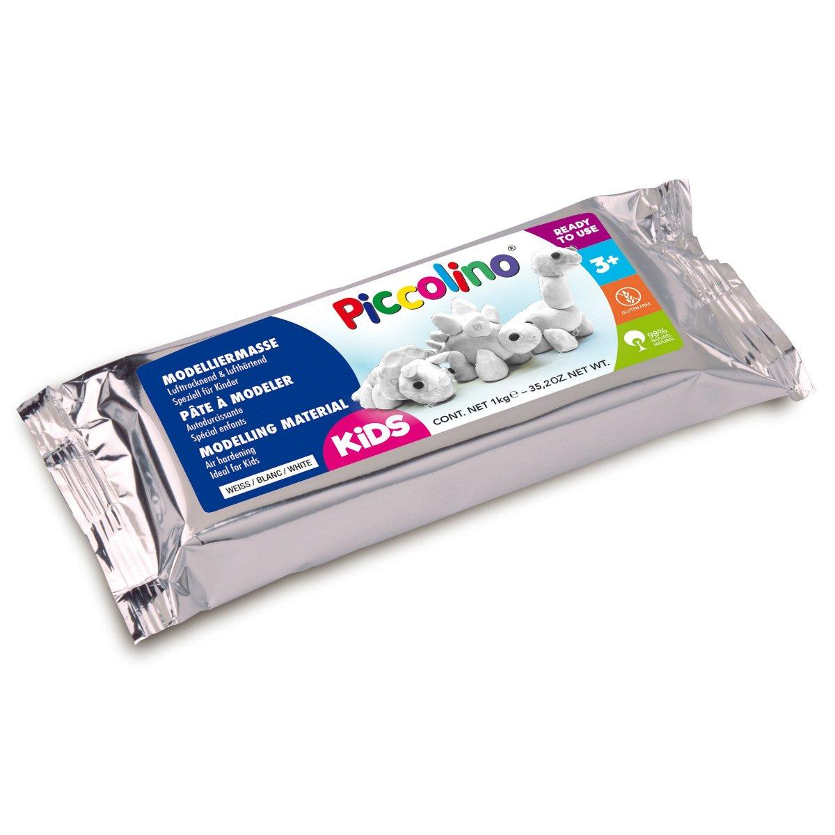 idéal pour enfants et réeducation doigts /& main Piccolino Bastelbedarf 1 kg Pâte à modeler durcissante à lair PICCOLINO souple blanc