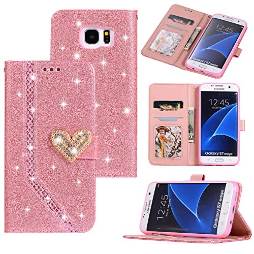 Ostop Samsung Galaxy S7 Edge Glitter Wallet Case,Crystal Credit Card Holder Leather Stand Flip Slim Cover 3D Sparkle Diamond Pearl Heart Pattern Creative Design Magnetic Clasp,Shiny Pink