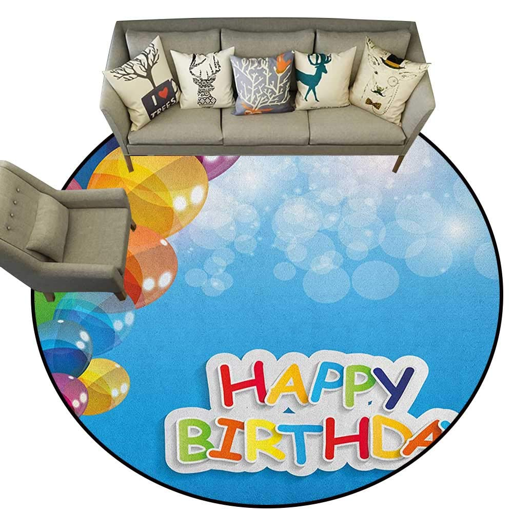 Style08 Diameter 36(inch& xFF09; Birthday,Personalized Floor mats The Words Happy Birthday with Vivid Balloons Confetti Rain Blithesome Happy Day D54 Floor Mat Entrance Doormat