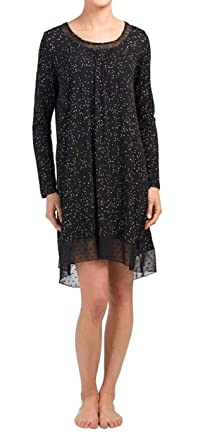 45eecca460b ELLEN TRACY Starry Dots Long Sleeve Lounge/Nightgown (Black with White Dots  & Stars
