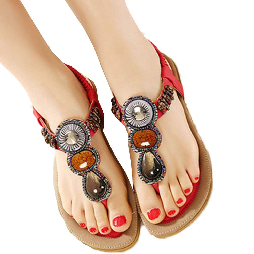 Nevera Ladies Flip-Flops Bohemian Elastic Strappy Thong Ankle Strap Sandals for Women Red