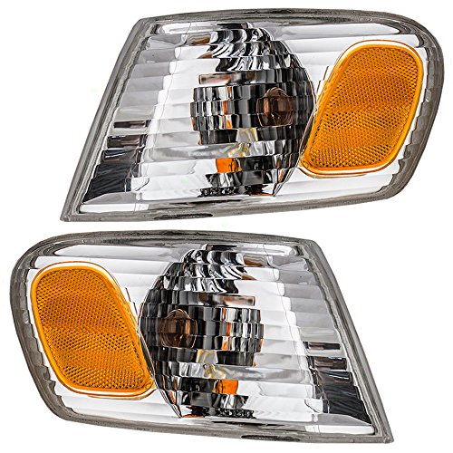 Toyota Clear Corners - Driver and Passenger Park Signal Corner Marker Lights with Amber & Clear Lamps Replacement for Toyota 8152002070 8151002070