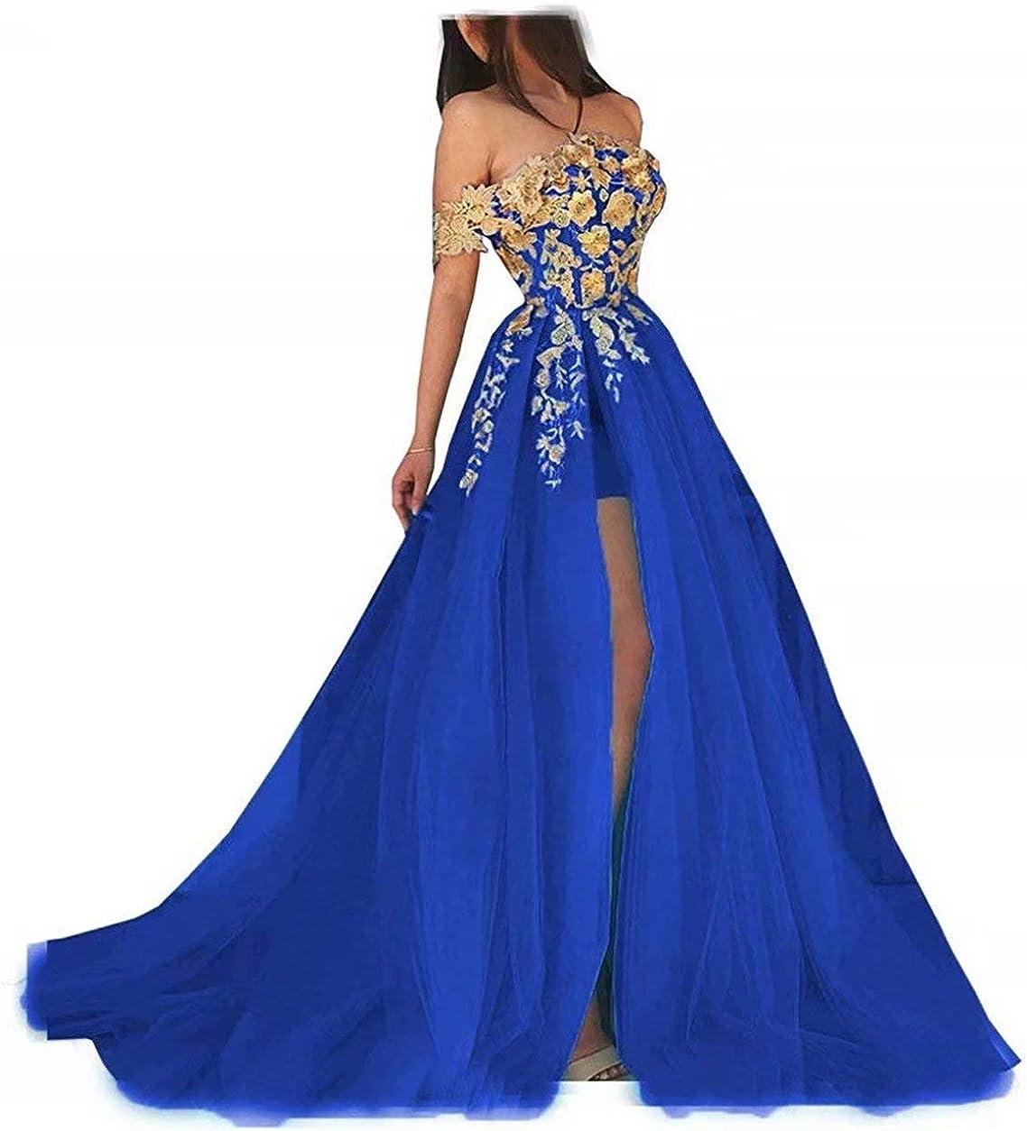 Women's Vintage Gold Applique Prom Party Dresses High Slit Off Shoulder Formal Quinceanera Gown Royal Blue