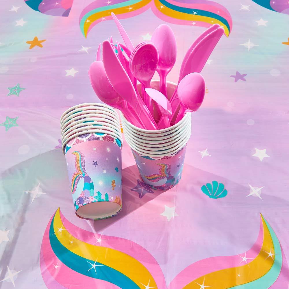 Sirena Sparkle Suministros para la Fiesta para Ni/ñas Desechables Cena Postre Platos Servilletas Tazas Mantel Fiesta de Cumplea/ños Sirve 16 Invitados 130 Piezas WERNNSAI Set De Vajilla Sirena