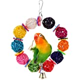 Mrlipet Birds Toy Parrot Hanging Colour Swing Rings Balls Toy Pet Bird Parrot African Greys Budgies Parakeet Cockatiels Cockatoo Conure Macaw Lovebird Cage Chew Toy