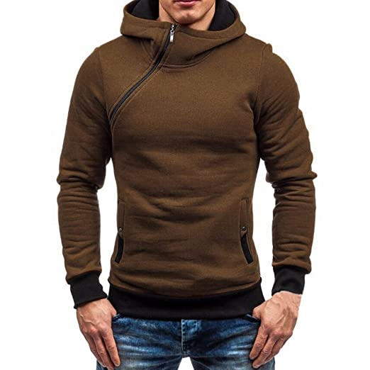 Familizo_Men Tops Men T-Shirt, Familizo Men's Autumn Winter Long Sleeve Zipper Hooded Sweatshirt
