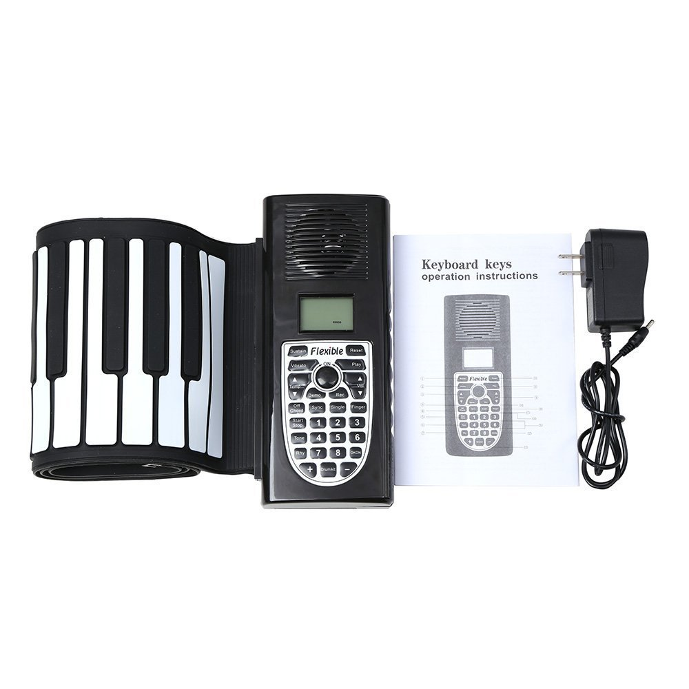 Portable Piano Electronic Digital Piano Folding Piano Silicone Hand Roll Keyboard 61Key Thickened Recording/Programming/Playback Batteries Or Plug-in DC 6V,Black