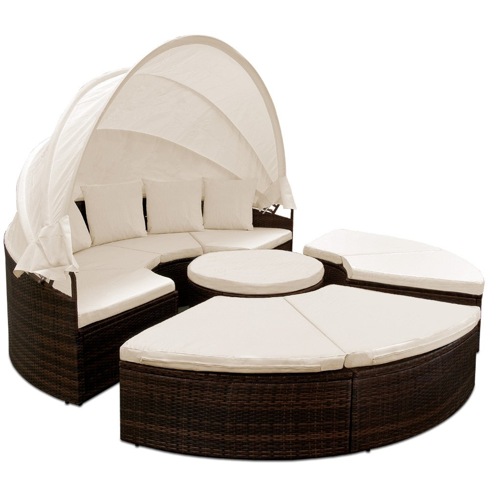 sonneninsel rattan 230 cm mit aufklappbarem sonnendach und auflagen gartenliege sonnenliege. Black Bedroom Furniture Sets. Home Design Ideas