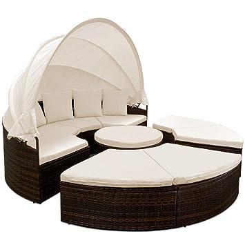 Bain de soleil rond Ø 230 cm brun-noir avec 4 coussins canapé lit ...
