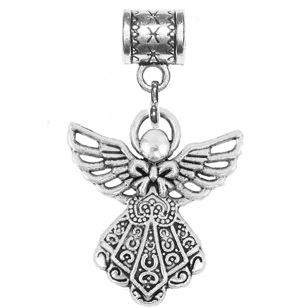 or add to neck chains or key chains Angel charm in antique silver by Mossy Cabin for large hole snake chain charm bracelets