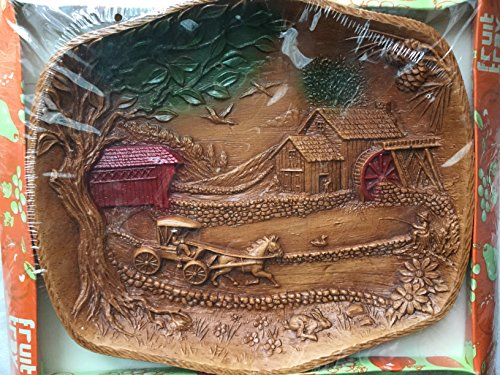 Retro Wall Hanging TACO-like, Syroco Burwood Homco Style Dish / Wall Hanging, Retro Covered Bridge, Old Mill, Horse and Buggy - Burwood Stores