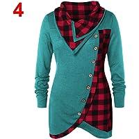 Women Plaid Long Sleeve Asymmetrical T-Shirt Spliced Casual Button Tops Turtleneck Tops