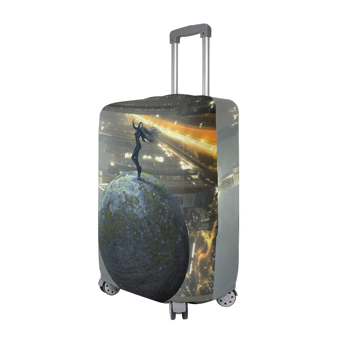 Girl Pose Ball Future Skyscrapers Creative Picture suitcase cover elastic suitcase cover zipper luggage case removable cleaning suitable for 29-32 trunk cover