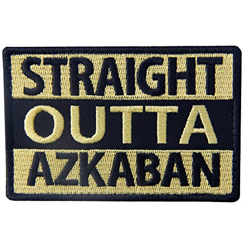 (Tactical Straight Outta Azkaban Patch Military Badge Morale Aplique Embroidered Fastener Hook & Loop Emblem)