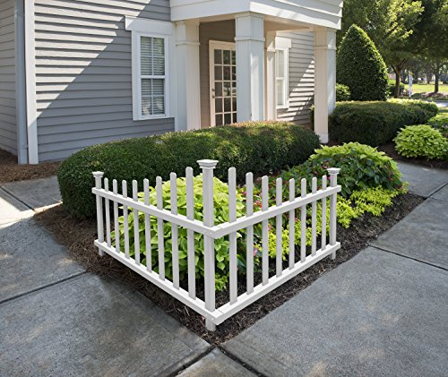 Zippity Outdoor Products ZP19007 No-Dig Vinyl Corner Picket Unassembled Accent Fence, 42